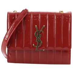 Saint Laurent Vicky Wallet on Chain Vertical Quilted Patent