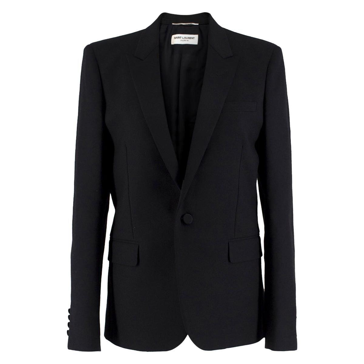 Saint Laurent Virgin Wool Le Smoking Jacket Size US 10