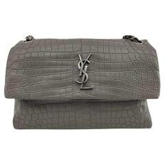SAINT LAURENT West Holywood Shoulder bag in Grey Leather