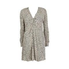 SAINT LAURENT white & black PRINTED TWIST NECK Dress 40
