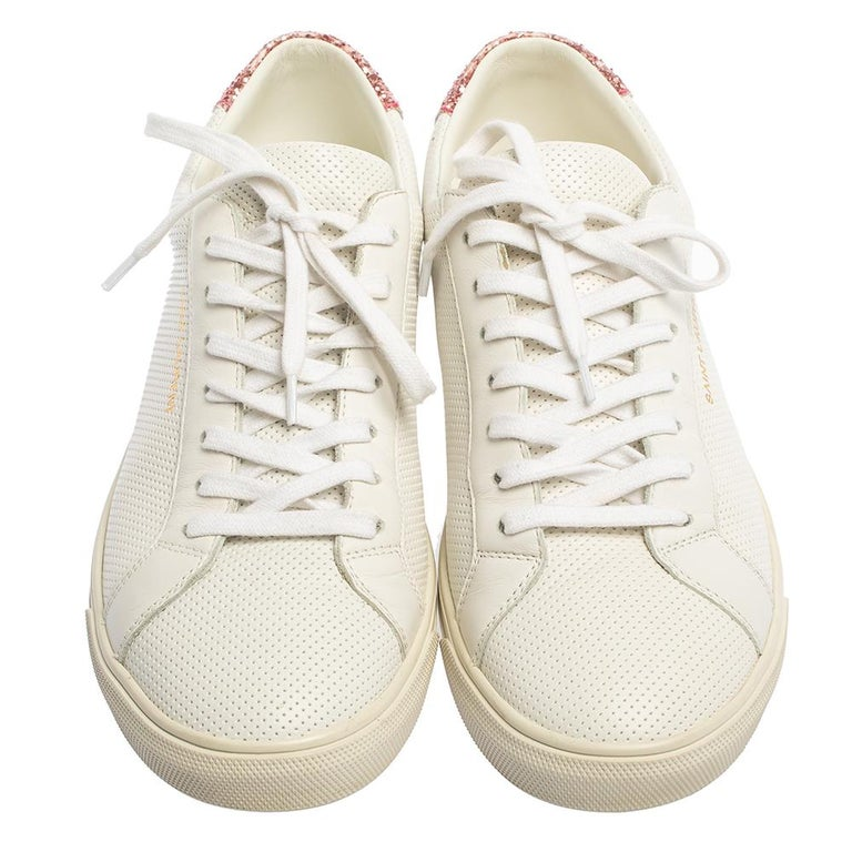 Saint Laurent White Leather And Glitter Andy Low-top Sneakers Size 39 In Good Condition For Sale In Dubai, Al Qouz 2