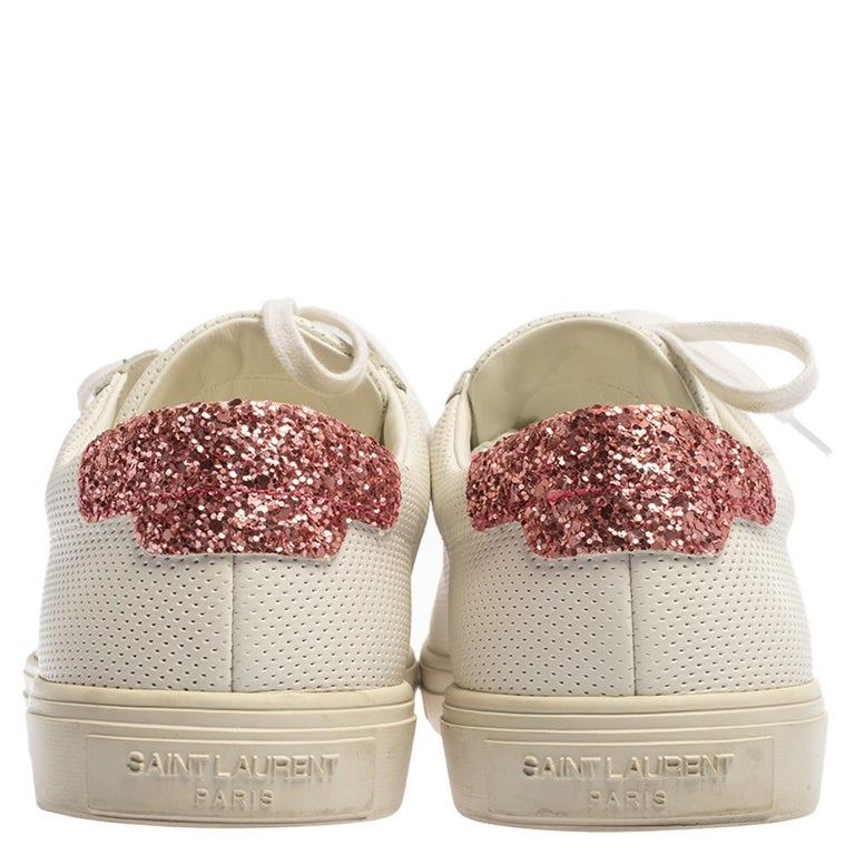 Women's Saint Laurent White Leather And Glitter Andy Low-top Sneakers Size 39 For Sale