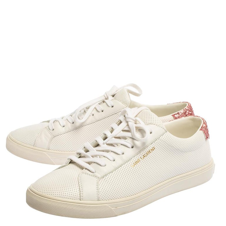 Saint Laurent White Leather And Glitter Andy Low-top Sneakers Size 39 For Sale 1