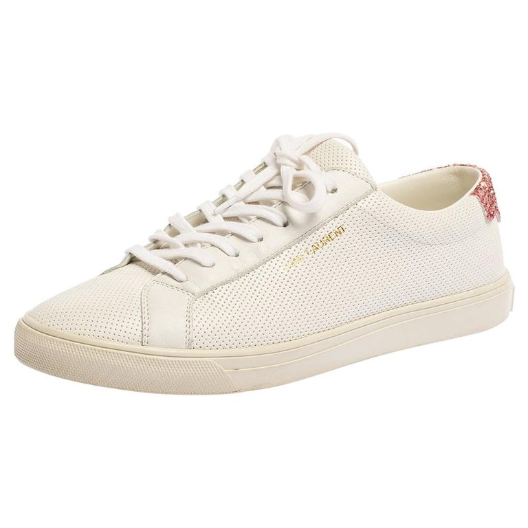 Saint Laurent White Leather And Glitter Andy Low-top Sneakers Size 39 For Sale