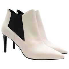 Saint Laurent White Leather Chelsea Ankle Boots SIZE 37