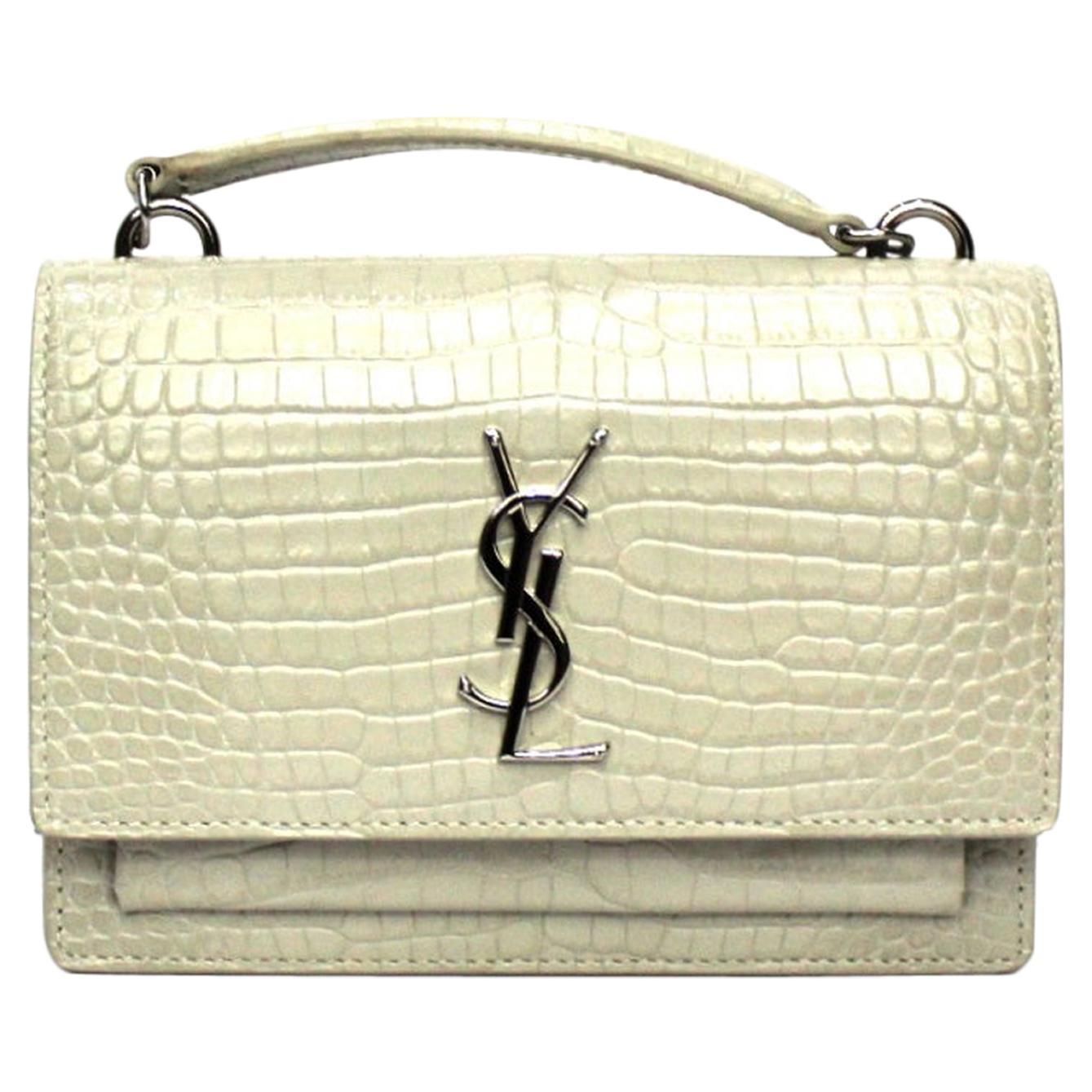 Saint Laurent White Leather Sunset Bag