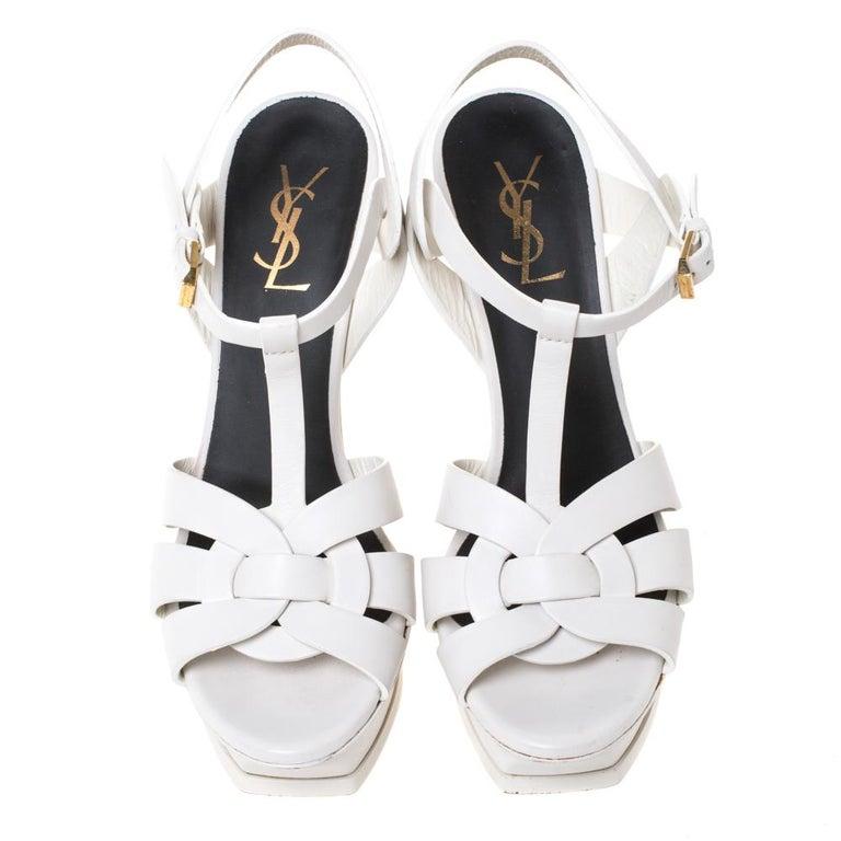 Saint Laurent White Leather Tribute Platfrom Sandals Size 39 In Good Condition For Sale In Dubai, Al Qouz 2