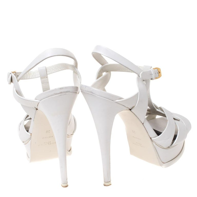 Women's Saint Laurent White Leather Tribute Platfrom Sandals Size 39 For Sale