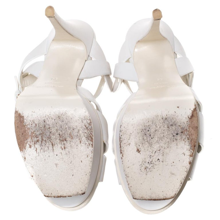 Saint Laurent White Leather Tribute Platfrom Sandals Size 39 For Sale 1