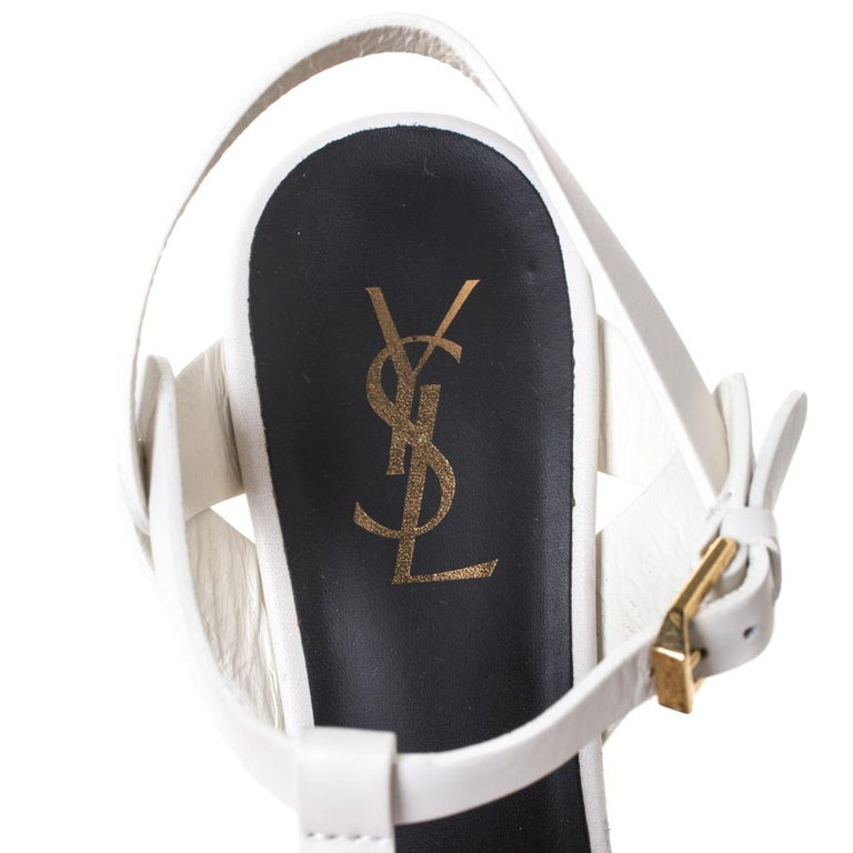 Saint Laurent White Leather Tribute Platfrom Sandals Size 39 For Sale 2