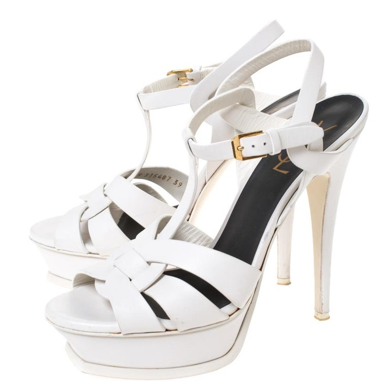 Saint Laurent White Leather Tribute Platfrom Sandals Size 39 For Sale 3