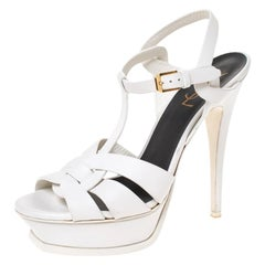 Saint Laurent White Leather Tribute Platfrom Sandals Size 39