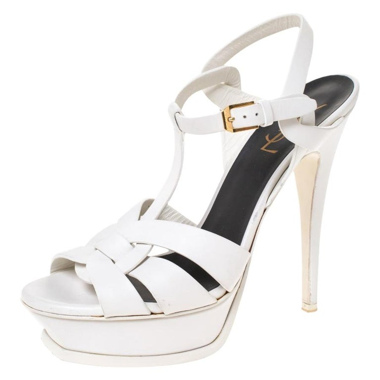 Saint Laurent White Leather Tribute Platfrom Sandals Size 39 For Sale