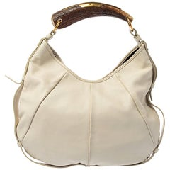 Saint Laurent White Leather Vincennes Mombasa Hobo