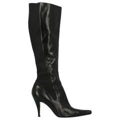 Saint Laurent Woman Boots Black Leather IT 36