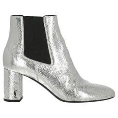 Saint Laurent  Women   Ankle boots  Silver Leather EU 39
