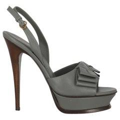 Saint Laurent  Women   Sandals  Grey Leather EU 40