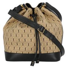 Saint Laurent  Women   Shoulder bags   Black, Ecru Fabric
