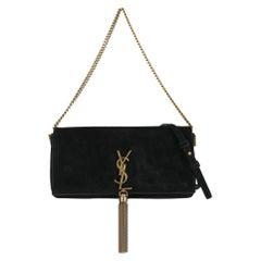 Saint Laurent  Women   Shoulder bags  Pompom Kate Black Leather