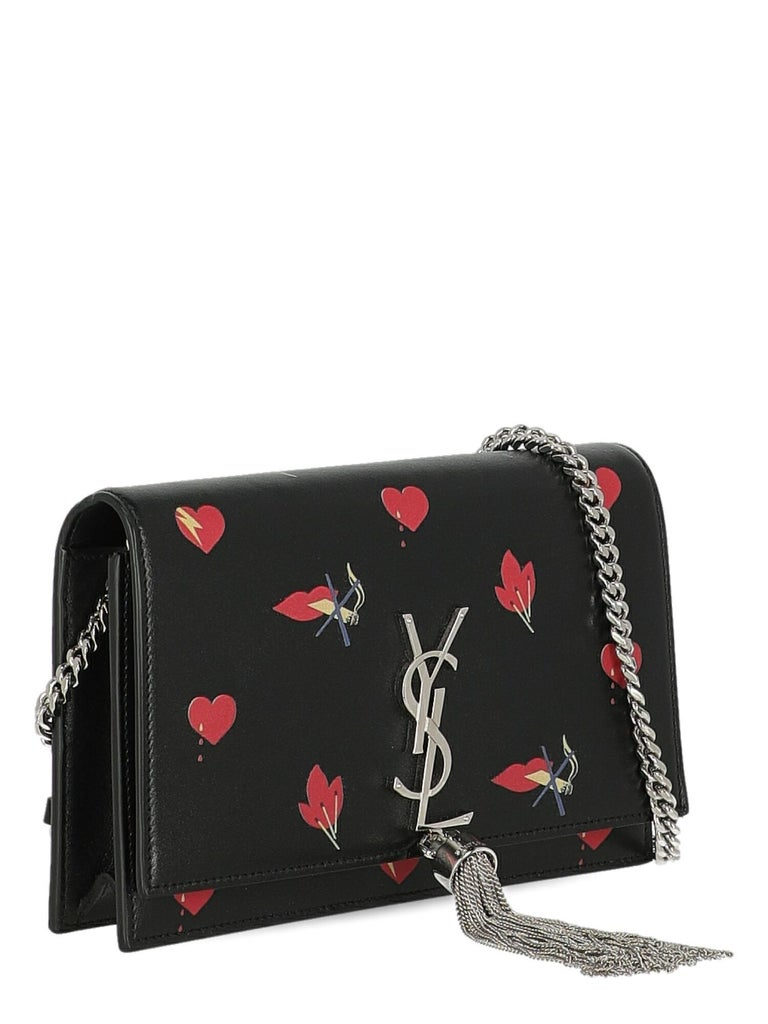 Saint Laurent  Women Shoulder bags  Pompom Kate Black, Red Leather In Excellent Condition For Sale In Milan, IT