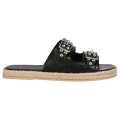 Saint Laurent Women's Slippers Black Leather IT 36