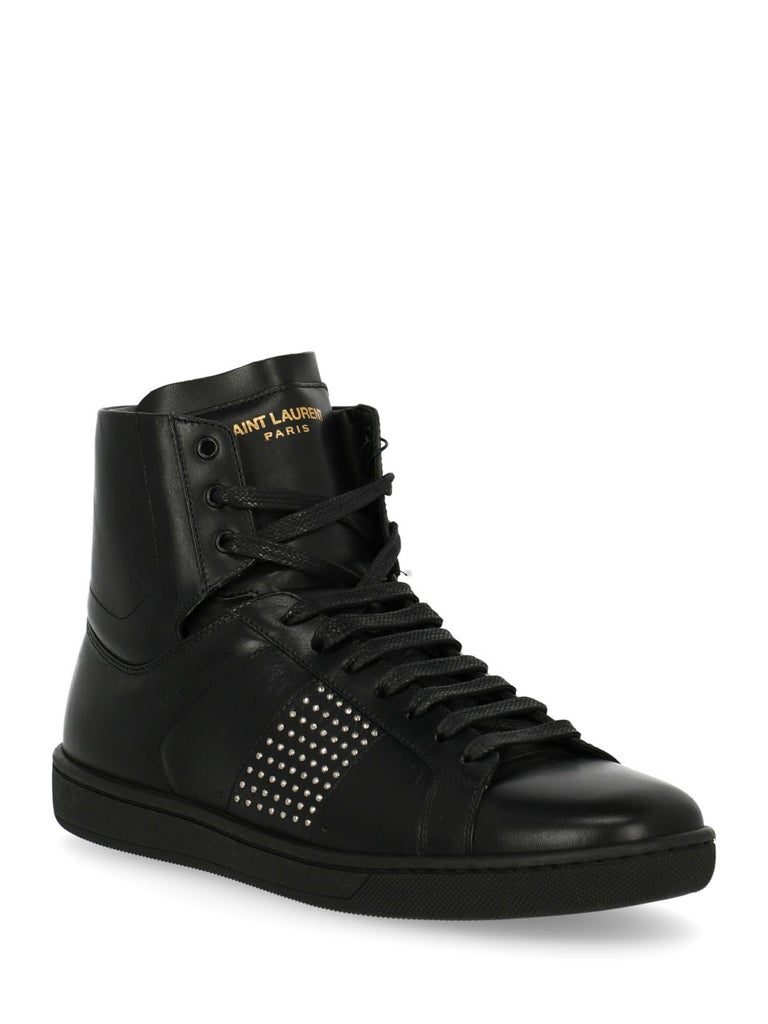 Product Description: Sneaker, leather, solid color, high-top sneakers, branded tongue, lace-up, round toe, bead embellishment.  Product Condition: Like New With Tag. Sole: negligible marks.  Composition Upper: 100% Calfskin Sole: 100% Rubber Lining: