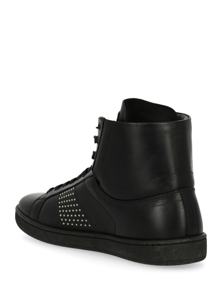 Saint Laurent Women's Sneaker Black Leather Size IT 37 In New Condition For Sale In Milan, IT