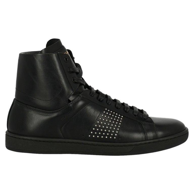 Saint Laurent Women's Sneaker Black Leather Size IT 37 For Sale