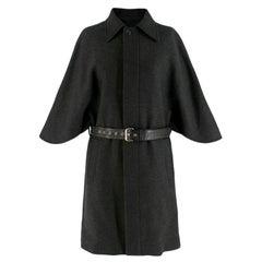 Saint Laurent Wool Grey Cape Coat with Belt  S FR 38