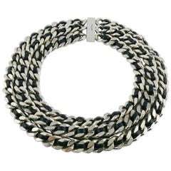 Saint Laurent Woven Leather Chunky Curb Chain Choker Necklace