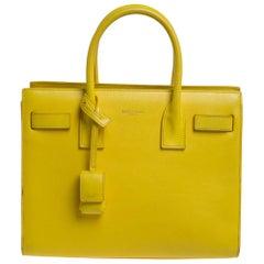 Saint Laurent Yellow Leather Baby Classic Sac De Jour Tote