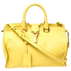 Saint Laurent Yellow Leather Small Cabas Ligne Y Tote