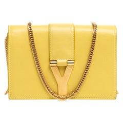 Saint Laurent Yellow Leather Y-Ligne Wallet on Chain