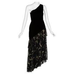 Saint Laurent YSL One shoulder Black Velvet Metallic Layered Dress, 1980s