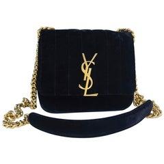 Saint Laurent YSL Vicky Small Black Velvet Monogram Matelasse Gold Crossbody Bag