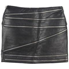 Saint Laurent Zip Embellished Leather Mini Skirt