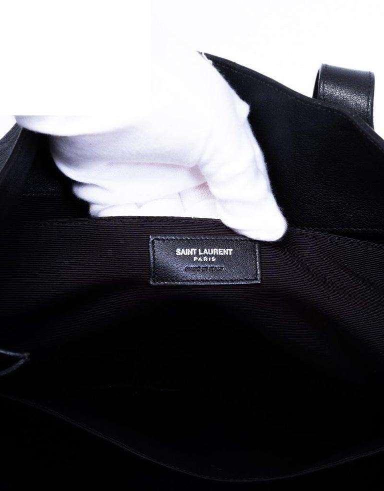 Saint Laurent Zipper Cabas Leather Tote Bag For Sale 1
