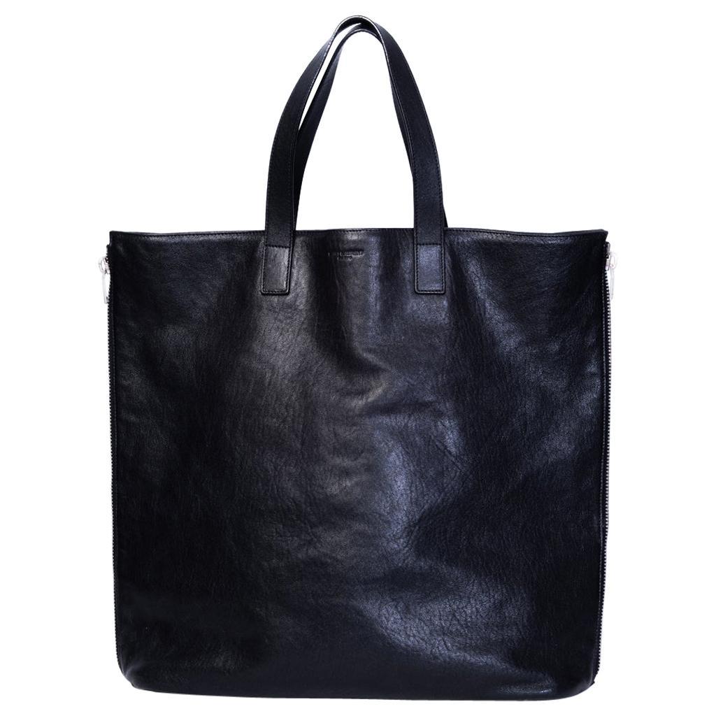 Saint Laurent Zipper Cabas Leather Tote Bag