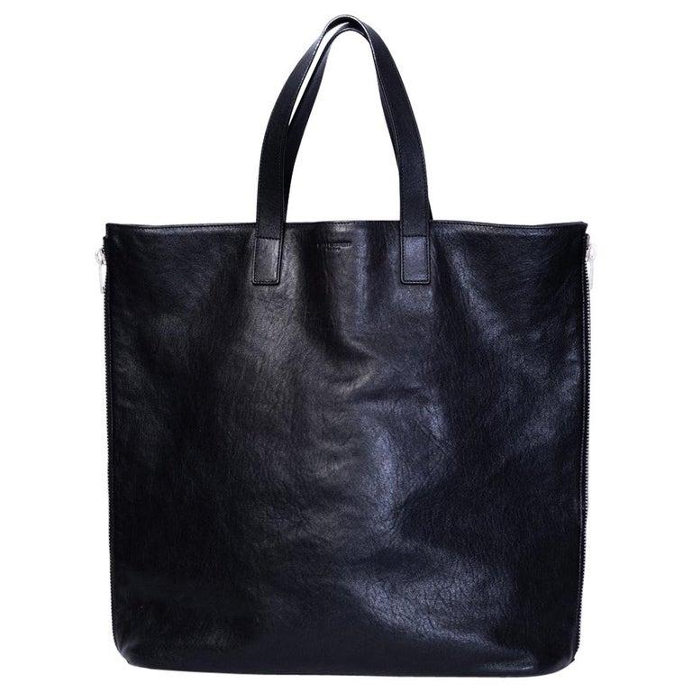Saint Laurent Zipper Cabas Leather Tote Bag For Sale