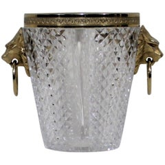 Saint Louis Crystal Ice Bucket with Gold Gilded Lions
