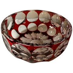 Saint Louis Crystal Ruby Red Geometric Pattern Large Bowl/Centerpiece