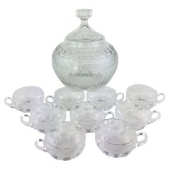 Saint Louis French Art Deco Period Crystal Punch Set