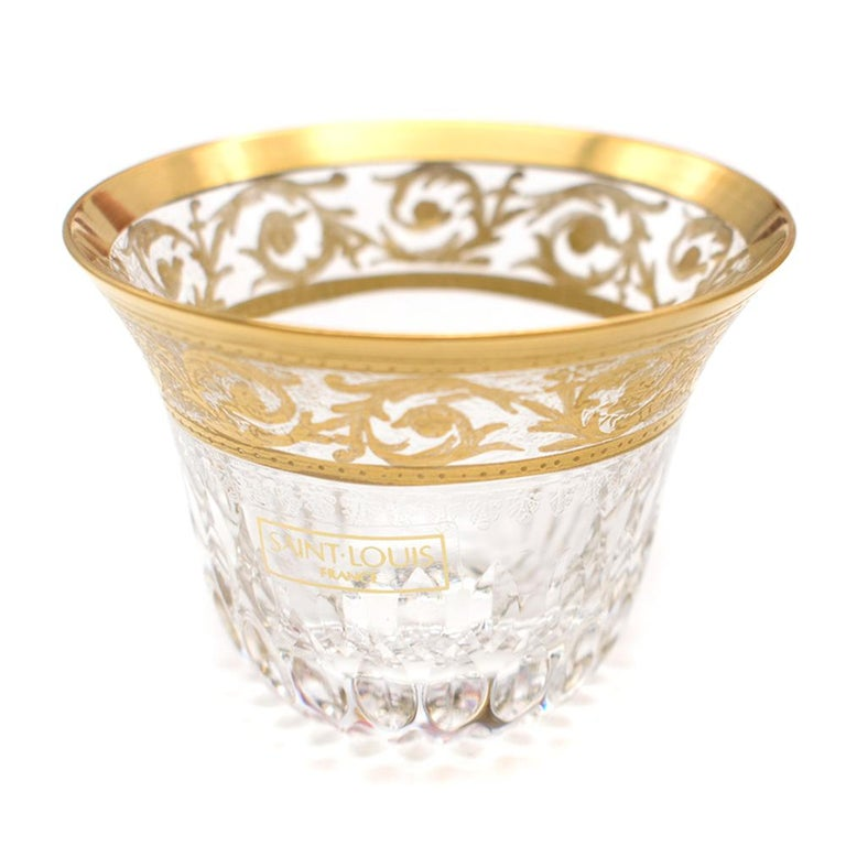 Women's or Men's Saint-Louis Set of 6 Trianon Wine Glasses & Two Thistle Coffee Cups For Sale
