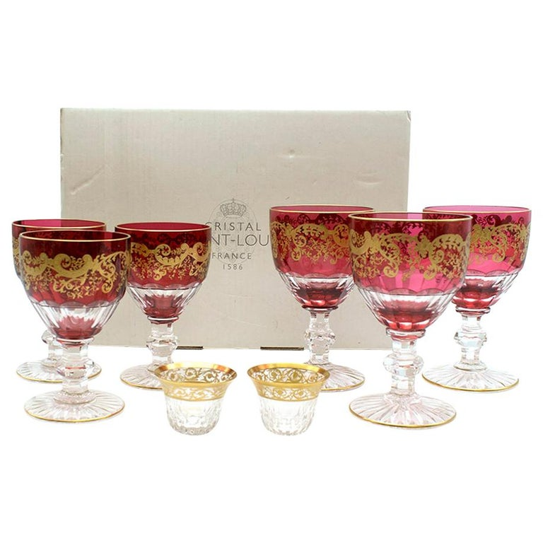 Saint-Louis Set of 6 Trianon Wine Glasses & Two Thistle Coffee Cups For Sale