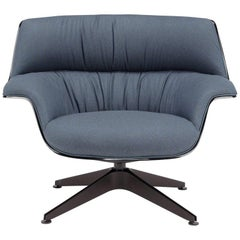 Saint Luc 'Coach' Lounge Chair in Blue Linen with Glossy Base by J.M. Massaud