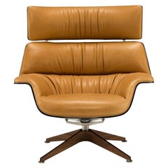 Saint Luc 'Coach' Lounge Chair in Ochre with Headrest by J.M. Massaud