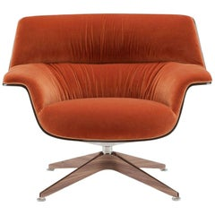 Saint Luc 'Coach' Lounge Chair in Orange with Glossy Base by J.M. Massaud