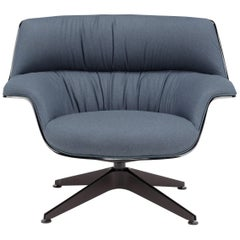 Saint Luc 'Coach' Lounge Chair with Blue Linen Glossy Finish by J.M. Massaud