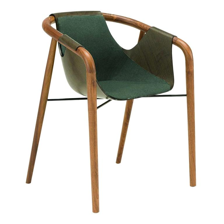 Saint Luc 'Hamac' Dining Chair in Green and Brown by J.P Nuel, 1stdibs New York For Sale