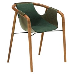 Saint Luc 'Hamac' Dining Chair in Green and Brown by J.P Nuel